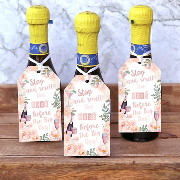 Rosé Bridal Shower: Poppin' Bottles Printable Favor Tags