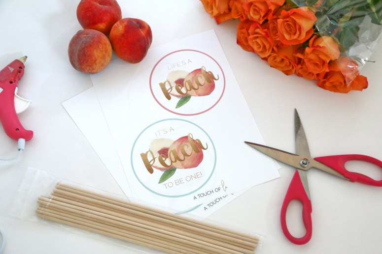 Peach party circles: Easy DIY Centerpiece Sticks