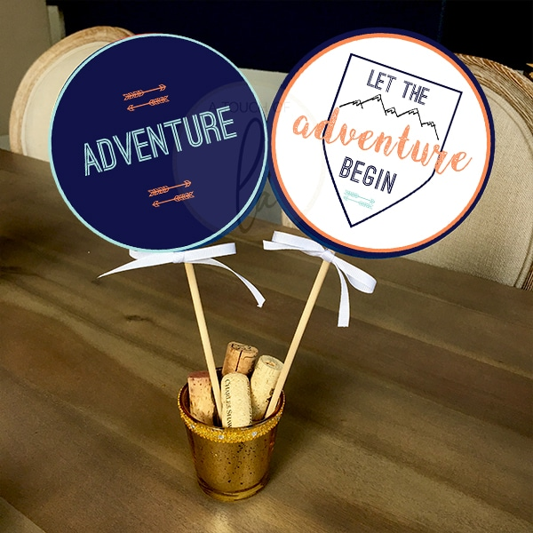 Adventure Themed Baby Shower Centerpiece Sticks