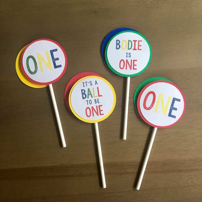 Bouncy Ball Party Decorations: It's a Ball to be one cupcake toppers