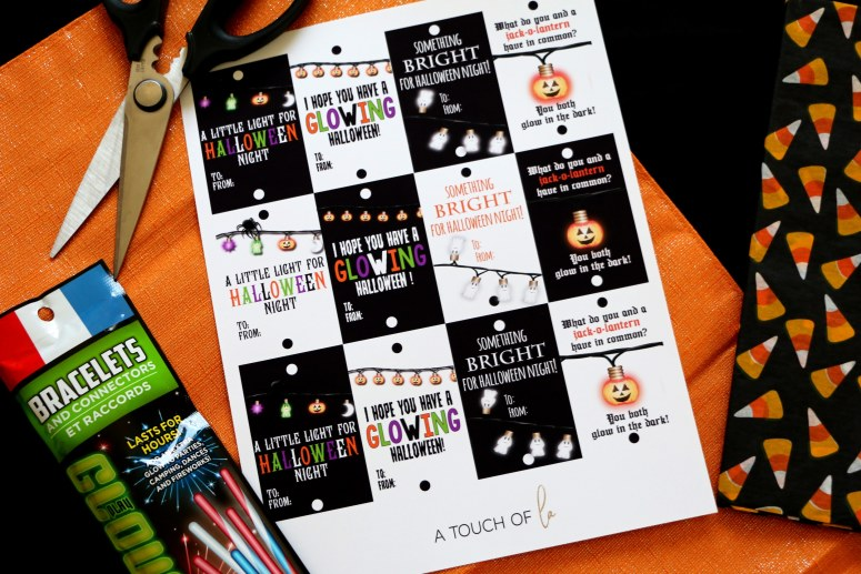 Glow Stick Halloween Printable Tags: Candy-Free Halloween Gifts