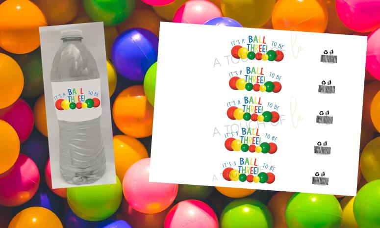 Bouncy Ball Party Decorations: Ball Party Water Bottle Labels