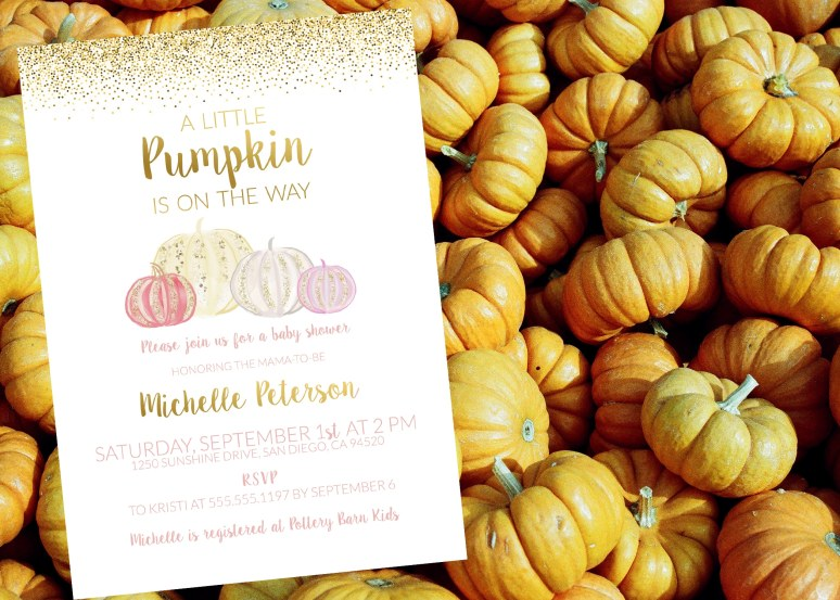 Glittery Little Pumpkin Baby Shower Invitation