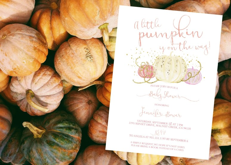 Rose Gold Little Pumpkin Baby Shower Invitation