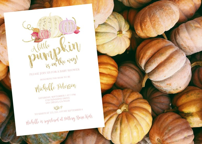 Glitter and Gold Little Pumpkin Baby Shower Invitation