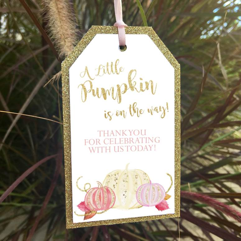 Printable Little Pumpkin Favor Tags: Little Pumpkin Baby Shower Ideas