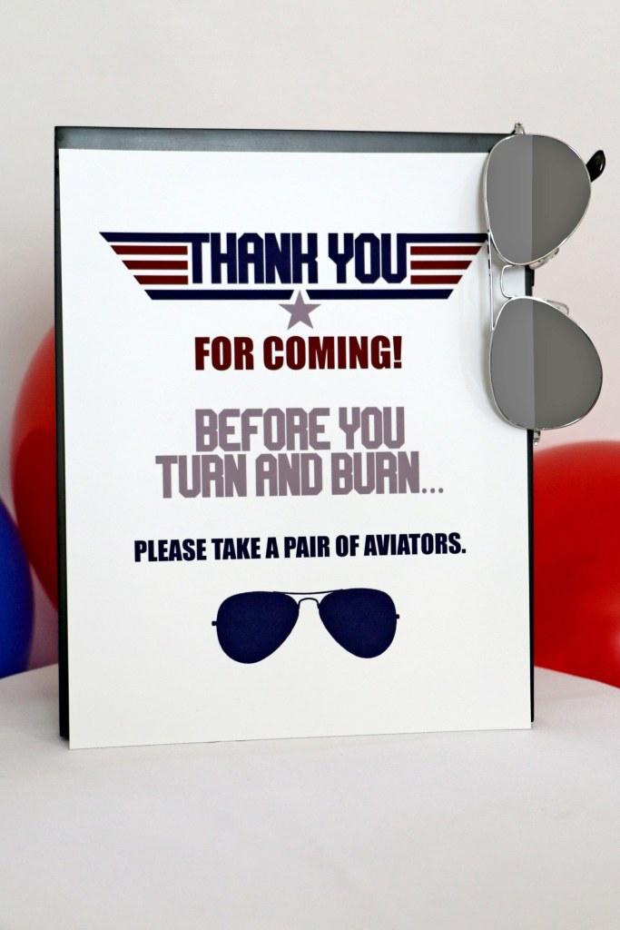 Top Gun Birthday Party Thank You Sign