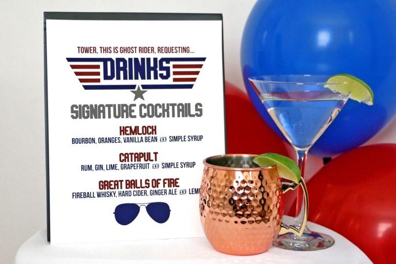 Top Gun Signature Cocktails Sign