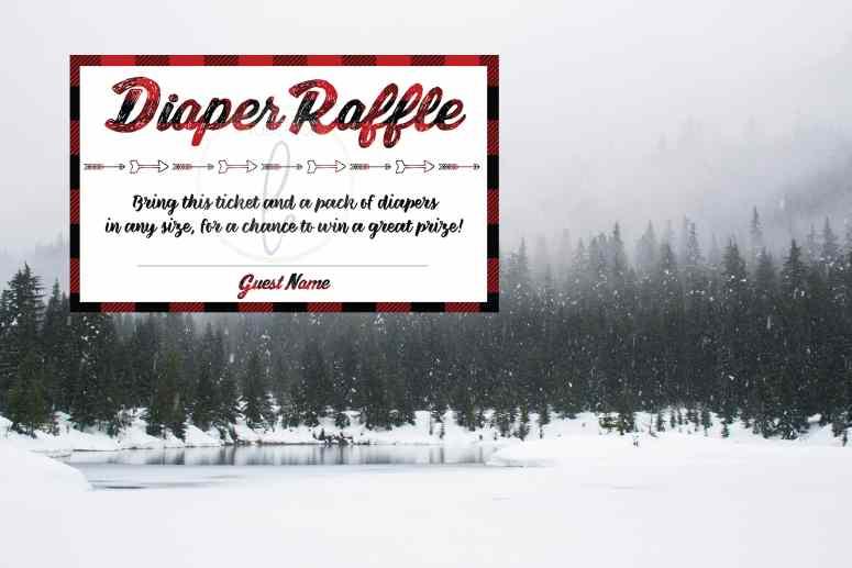 The best winter baby shower theme: Buffalo Plaid Baby Shower Decor diaper raffle card