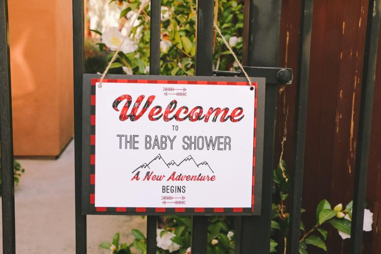 Let the adventure begin: Buffalo Plaid Baby Shower Decorations