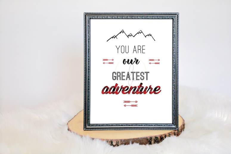 Buffalo Plaid Baby Shower Decor, You are our greatest adventure sign