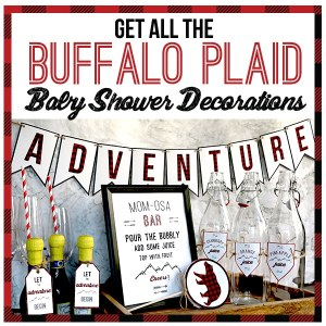 Get all the buffalo plaid baby shower decorations