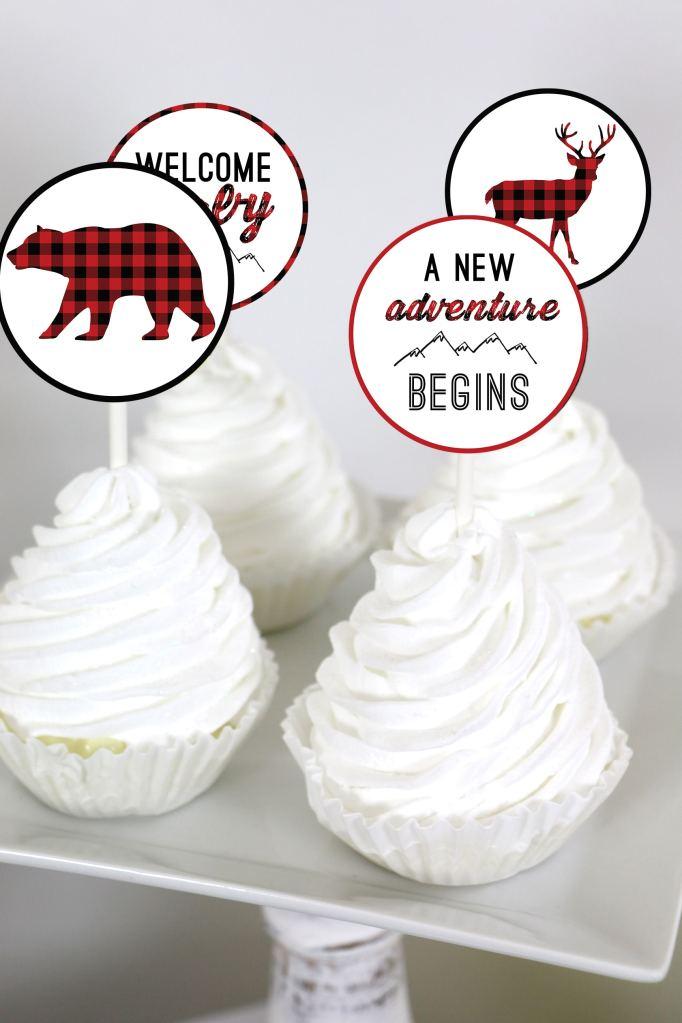 Buffalo Plaid Baby Shower Decor: Buffalo Plaid Cupcake Toppers