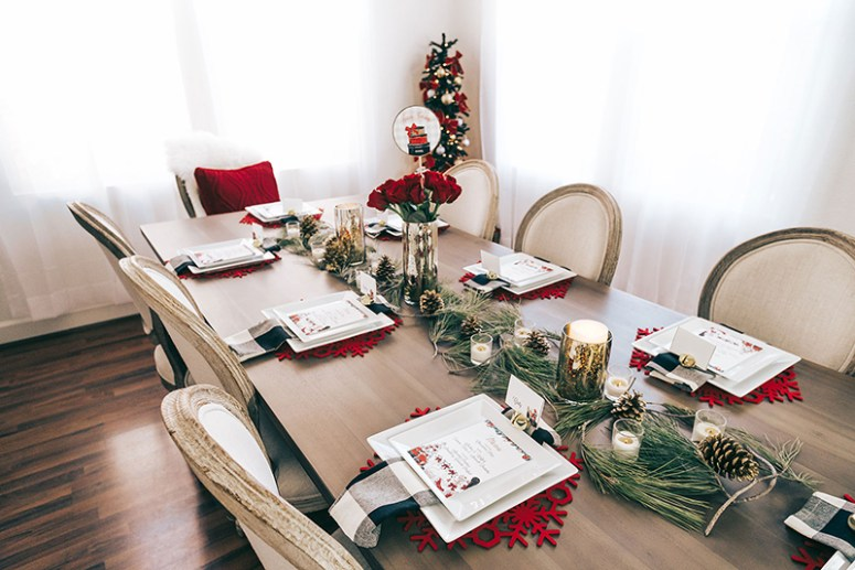 Christmas Party Table with buffalo plaid