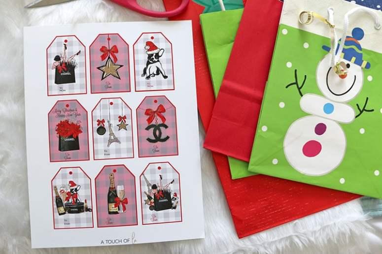 Gorgeous Chanel themed Printable Christmas Gift Tags