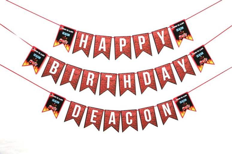 Firefighter Themed Happy Birthday Banner