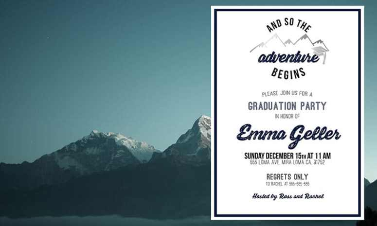 Party Themes for Cold Weather: Mountain theme grad party invitation