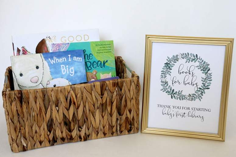 Greenery Baby Shower Books for Baby Sign