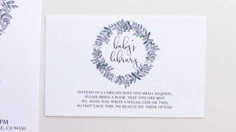Gender Neutral Baby Shower Book Card