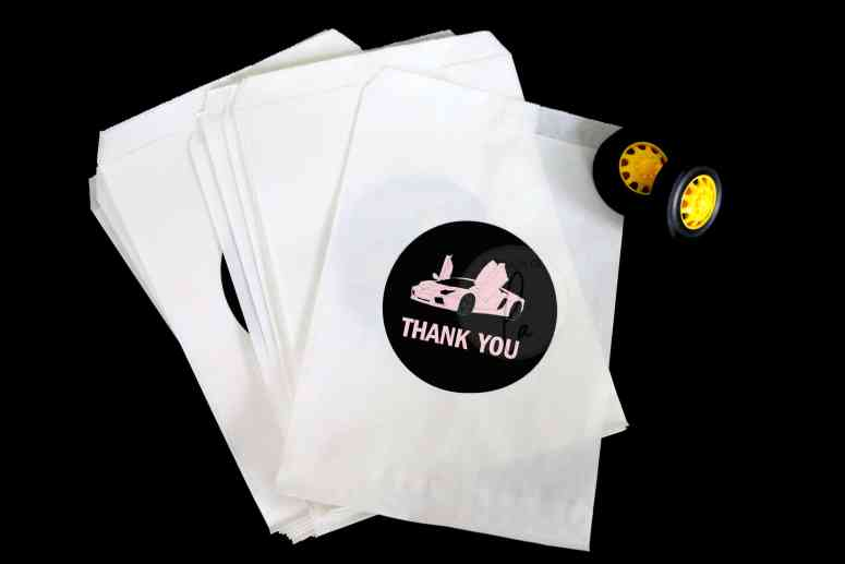 Supercar party supplies in every color: Thank you stickers