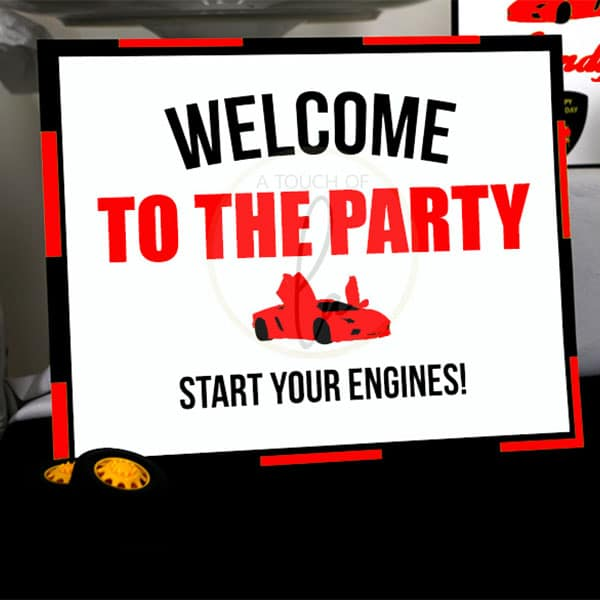 Red-Supercar-Party-Welcome-Sign