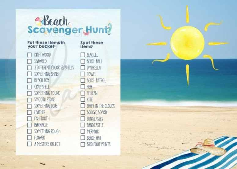 Beach Party Scavenger Hunt