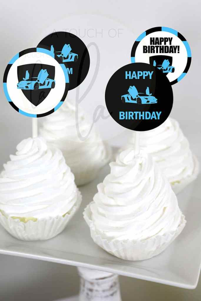 Blue Exotic Car Party Cupcake Toppers