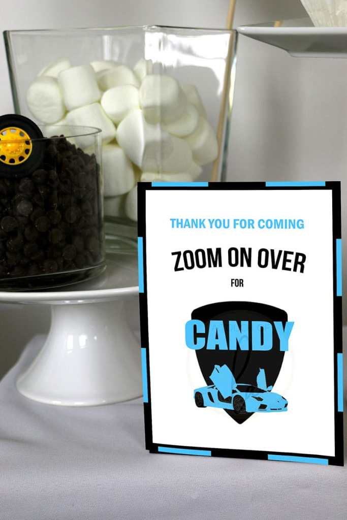Blue-and-Black-Supercar-Party-Candy-Bar-Sign