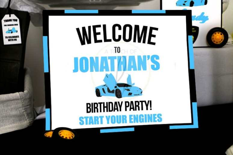 Editable Blue Exotic Car Party Welcome Sign