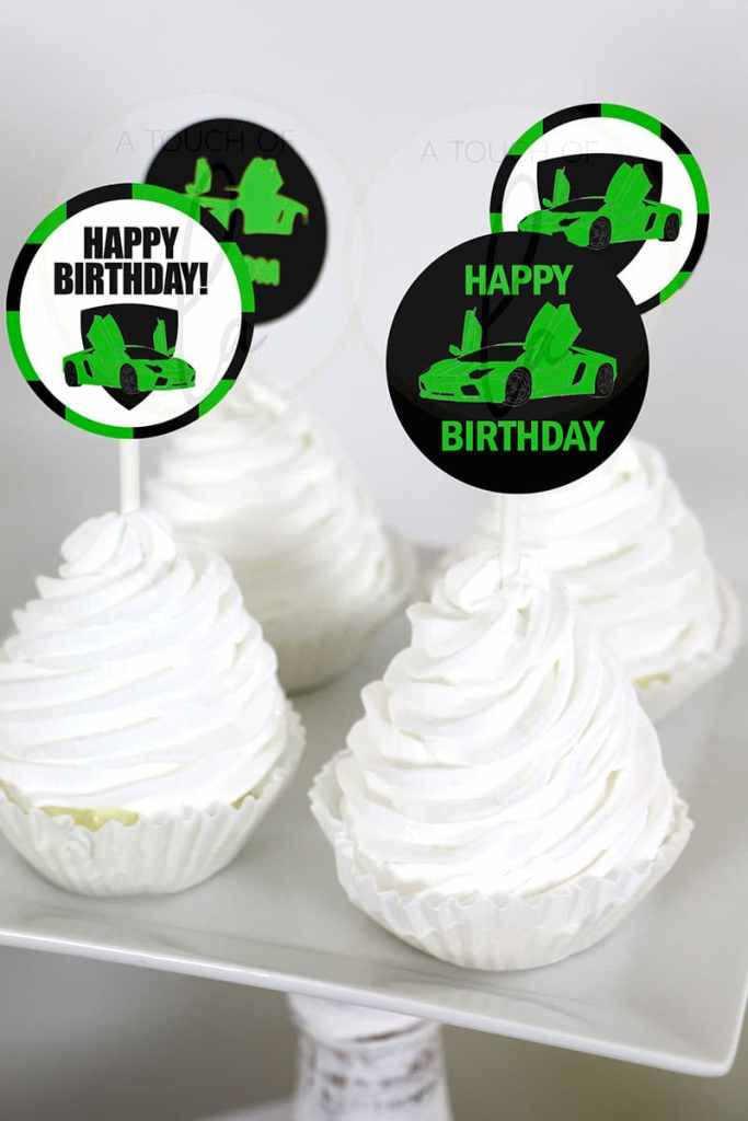 Green Exotic car party cupcake toppers