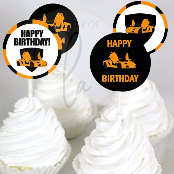 orange supercar party cupcake toppers