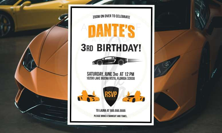 Orange sports car party theme invitation