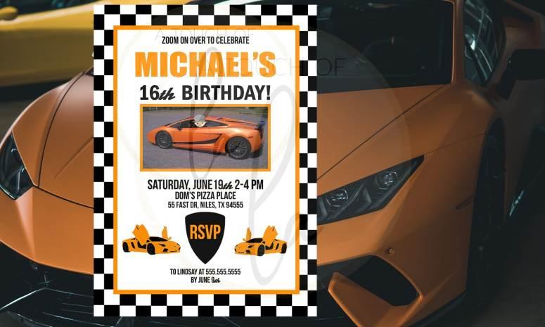 orange exotic car party invitation