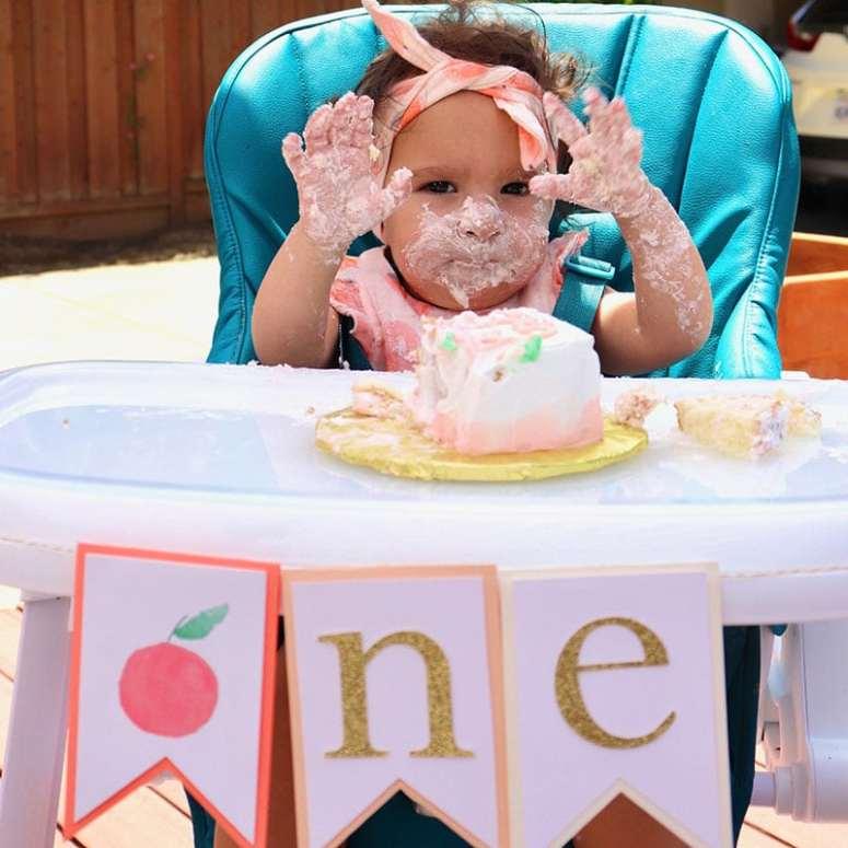 Peach First Birthday High Chair Banner