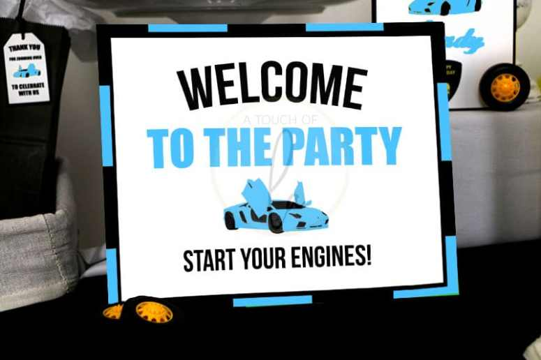 Blue Exotic Car Party Welcome Sign