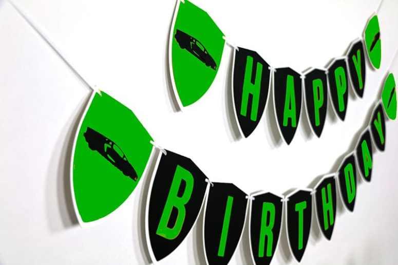Green Exotic Car Happy Birthday Sign