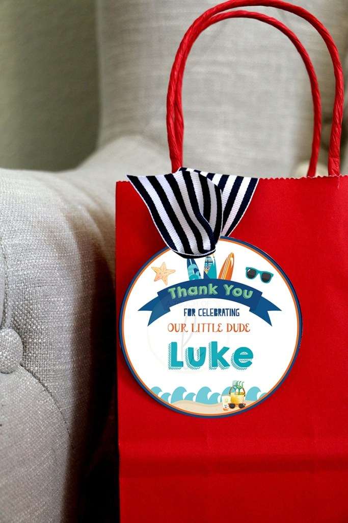 Surf Party Favor Tags