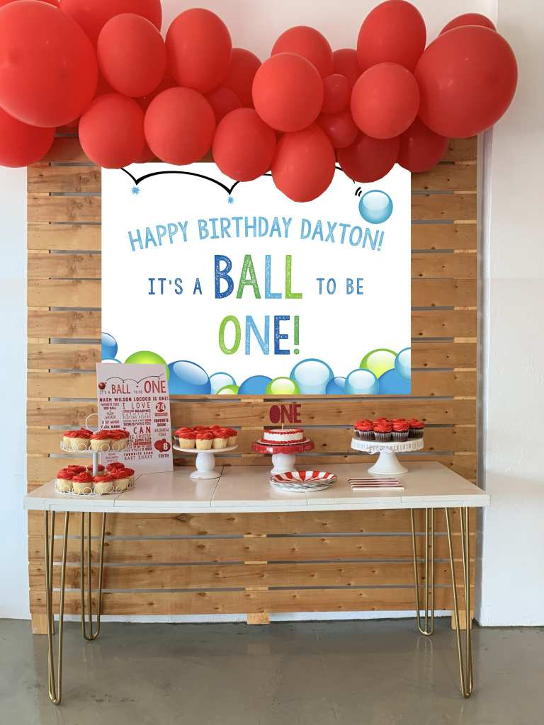 Blue-and-Green-Ball-Party-Cake-Table-Backdrop