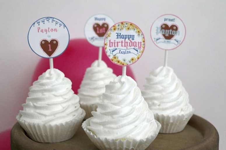 How to Decorate A Girly Oktoberfest Birthday Party: Girl Oktoberfest Editable Cupcake Toppers