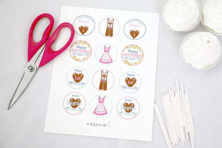 Girl Oktoberfest Editable Cupcake Toppers