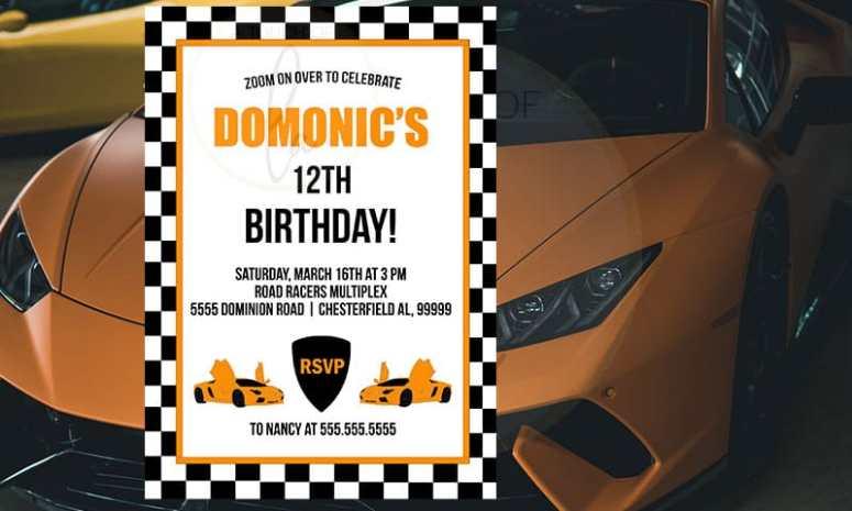 Orange hypercar party invitation