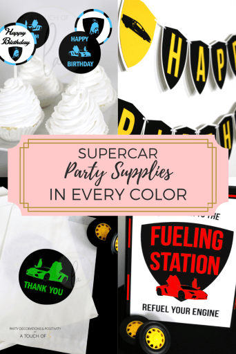 Supercar party supplies in every color