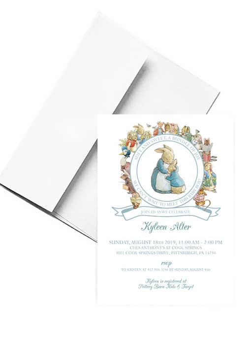 Beatrix Potter Baby Shower Invitation for a Baby Boy