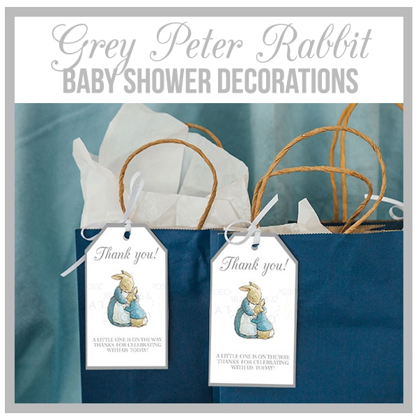 Grey Peter Rabbit Beatrix Potter Baby Shower Decorations