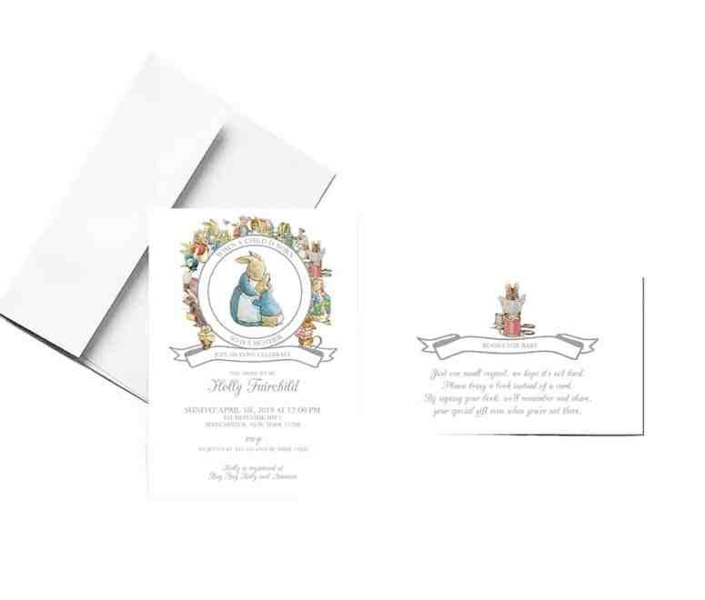 Grey Peter Rabbit Baby Shower Invitation