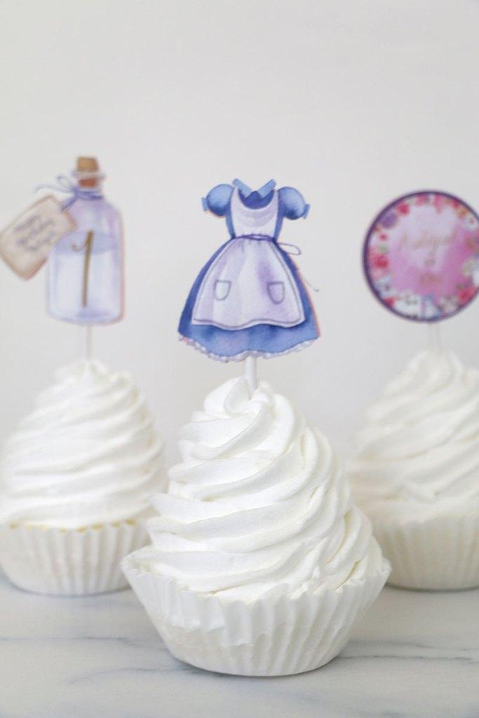 Alice in Wonderland Printable Cupcake Toppers
