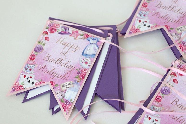 Alice in Wonderland Printable and Editable Happy Birthday Banner