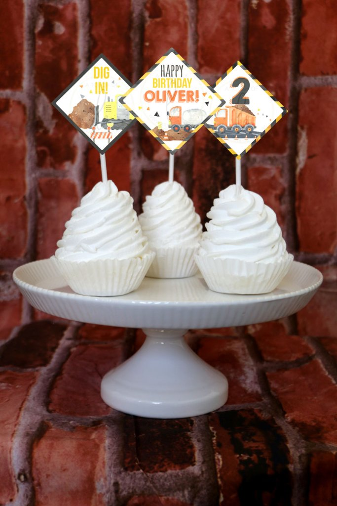 Construction Party Cupcake Toppers