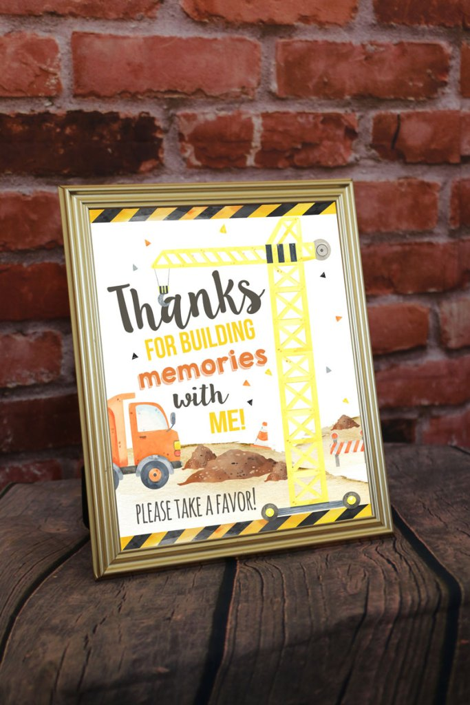Construction Party Favor Signs