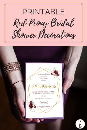 Printable Red Peony Bridal Shower Decorations